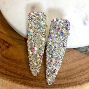 Iridescent Crystal Covered Barrette Hair Clips